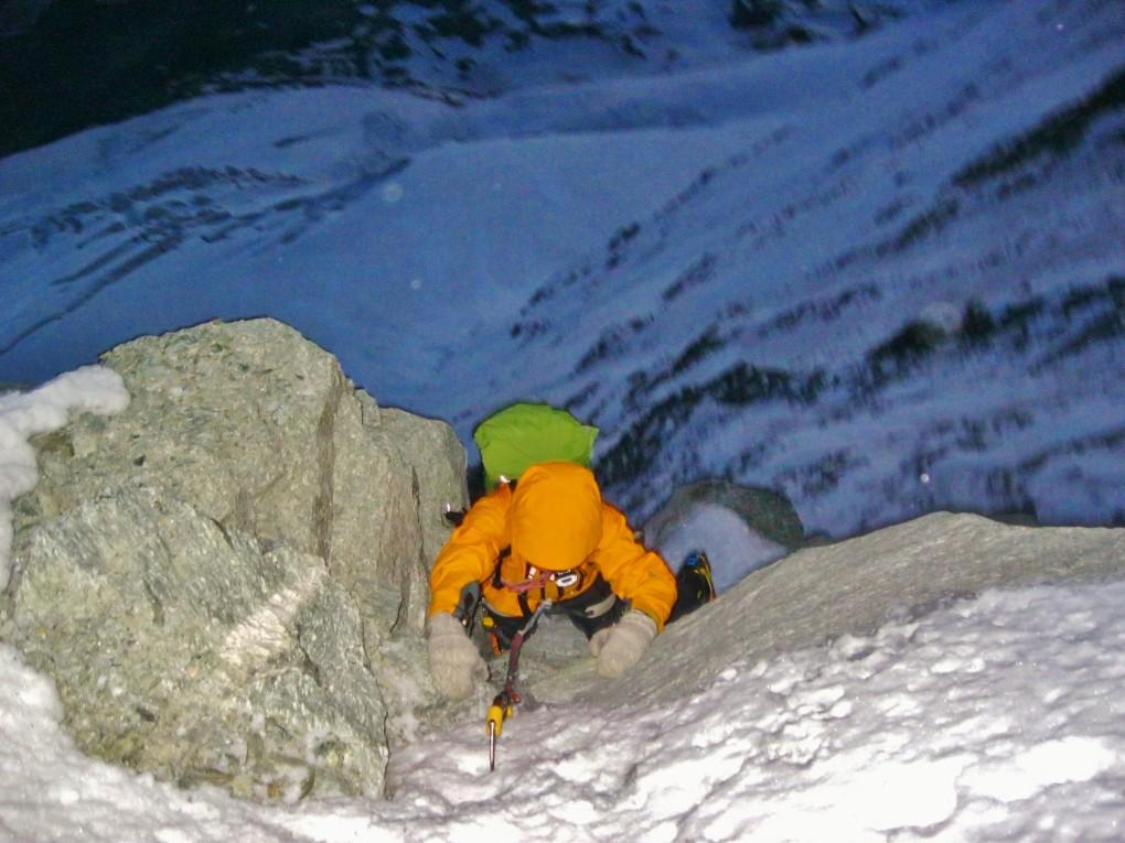 Ideal zum Klettern, schlecht zum absichern- die Verhältnisse in der Nordwand