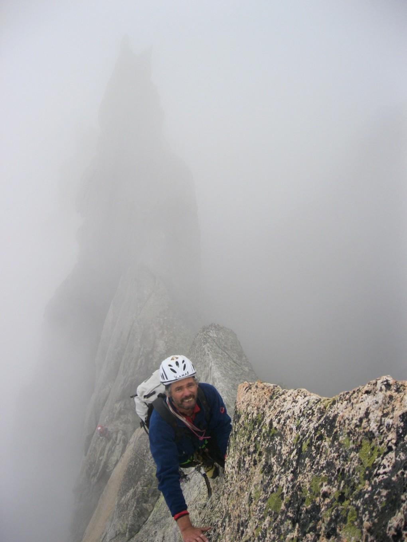 Egon wenige Seillängen vor dem Gipfel